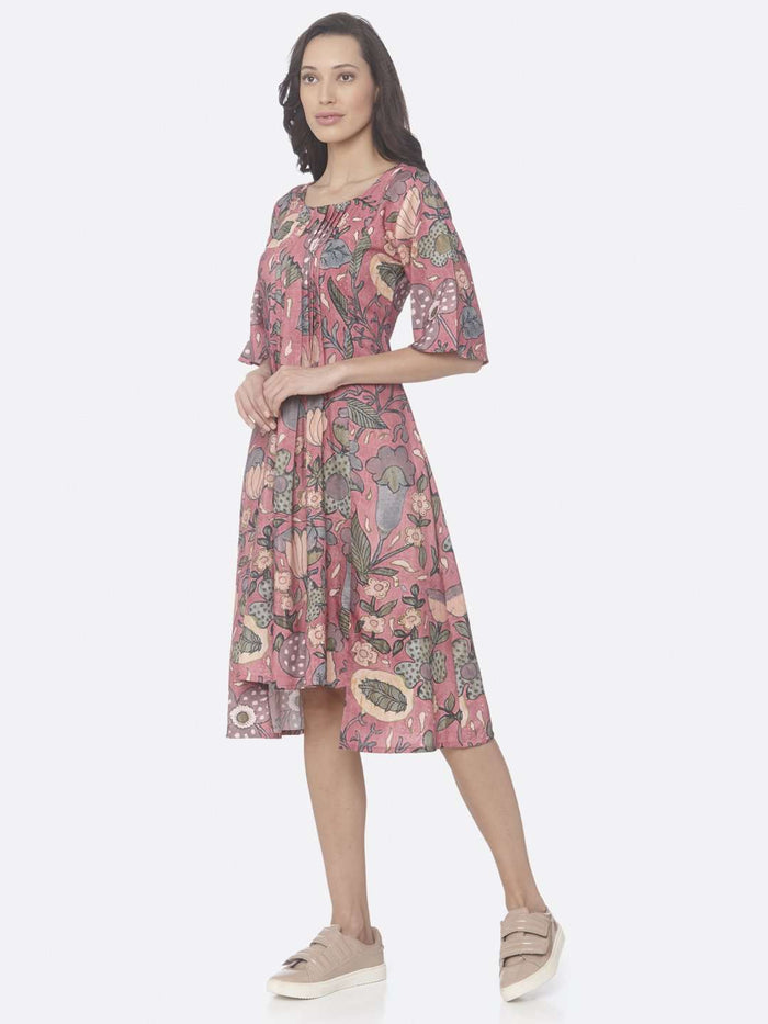 Left Side Pink Printed Rayon Up & Down Dress
