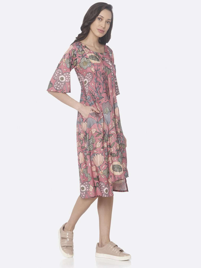 Right Side Pink Printed Rayon Up & Down Dress