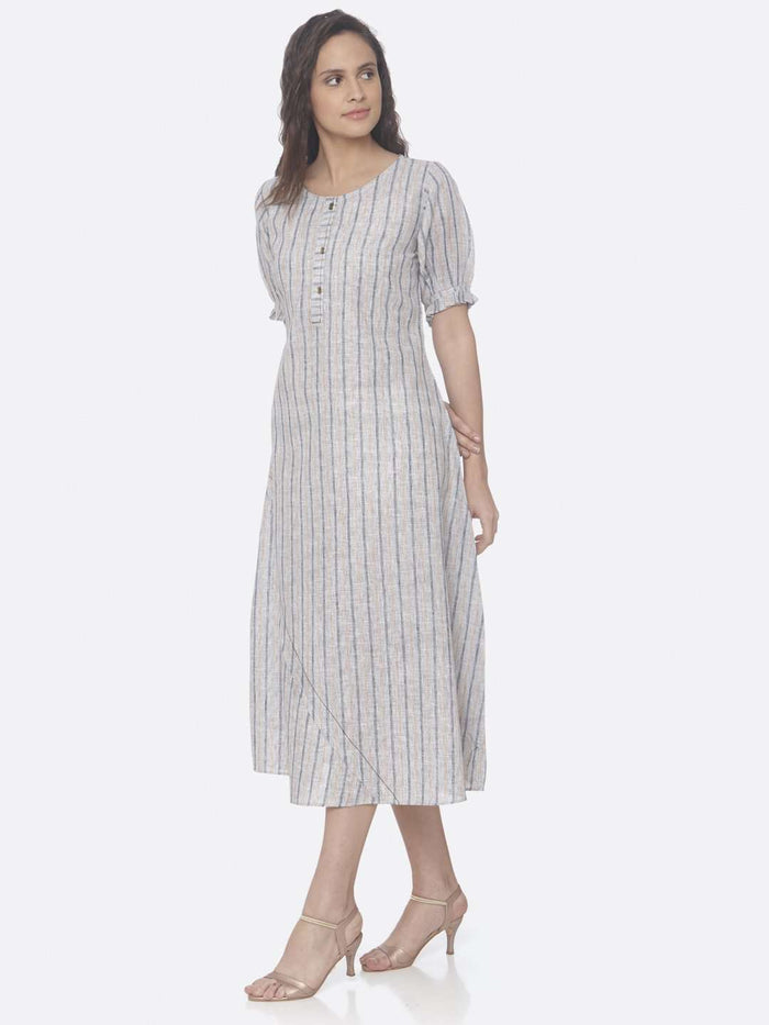 Left Side Off White Printed Cotton Asymmetrical Dress