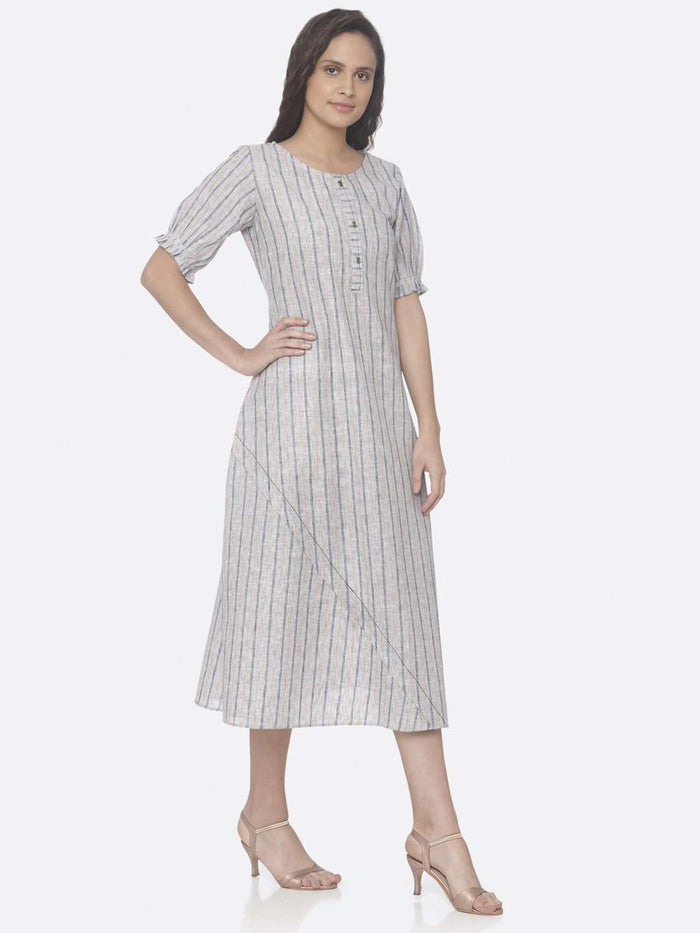 Right Side Off White Printed Cotton Asymmetrical Dress