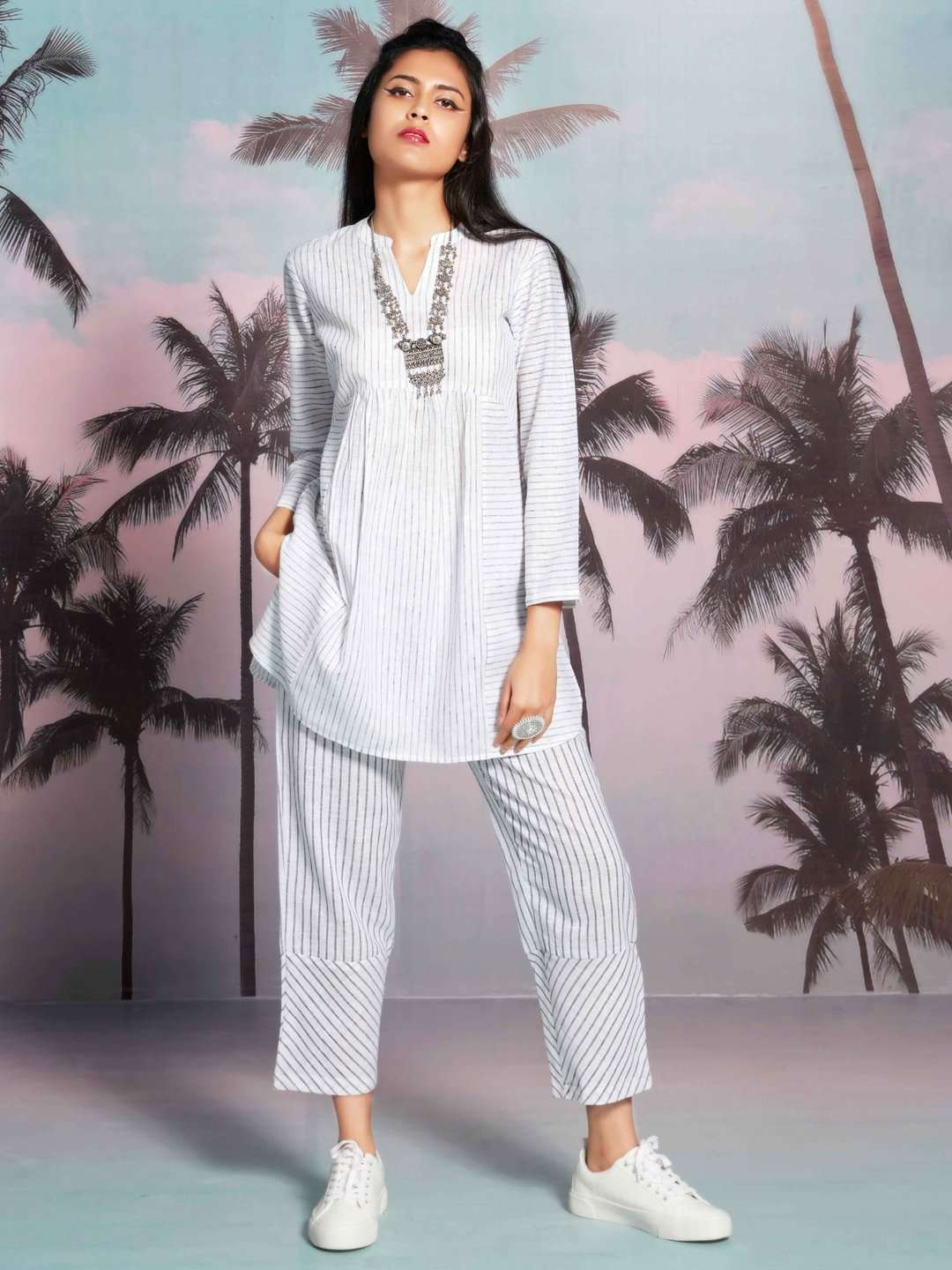 Front Side Savvy White Printed Cotton A-Line Tunic Set