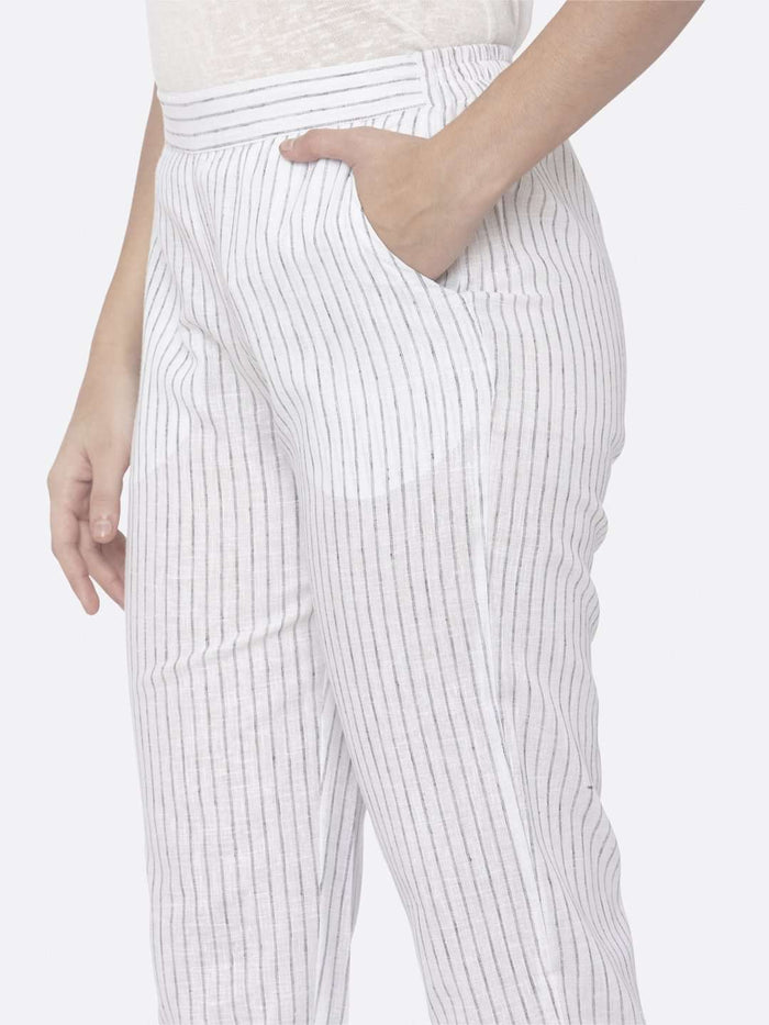 Left Side Savvy White Printed Pant