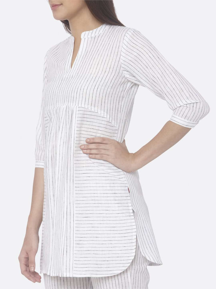 Left Side Printed Cotton A-Line Tunic Set With Savvy White Color