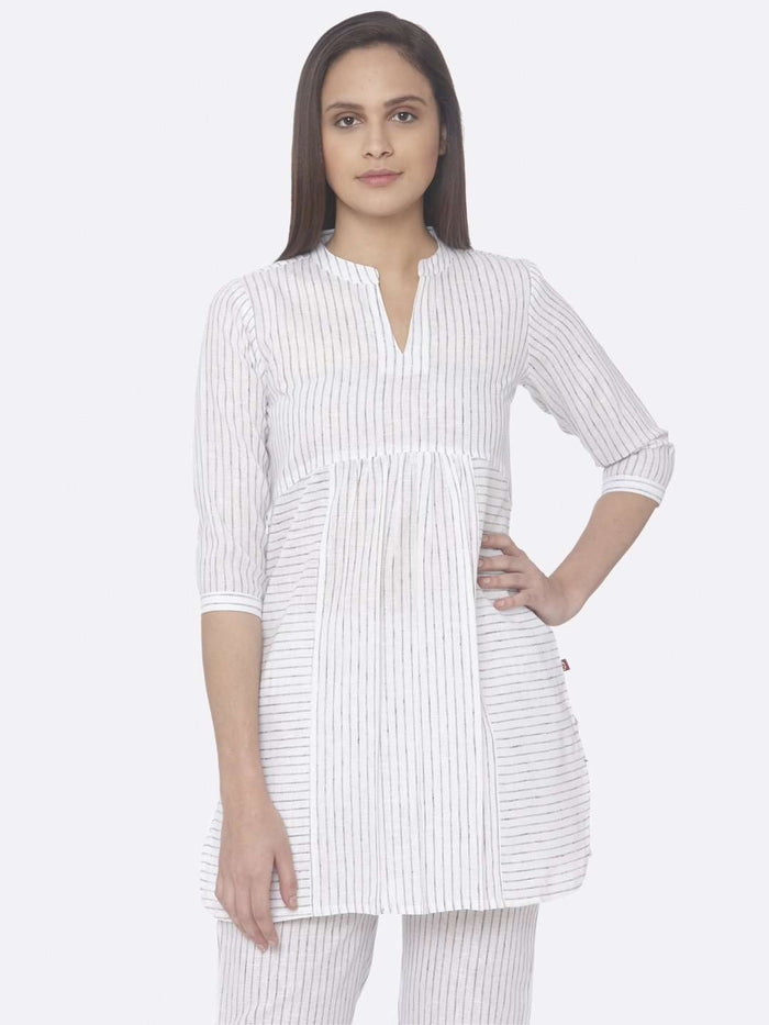 Front Side White Printed A-Line Tunic Set