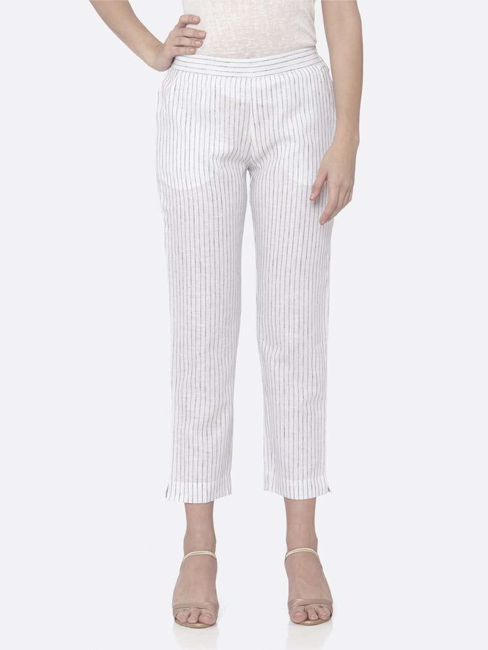 Front Side White Printed Cotton Pant