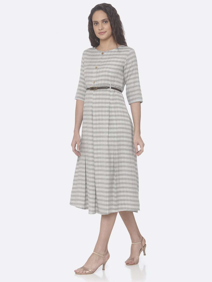 Left Side Grey Printed Cotton A-Line Dress