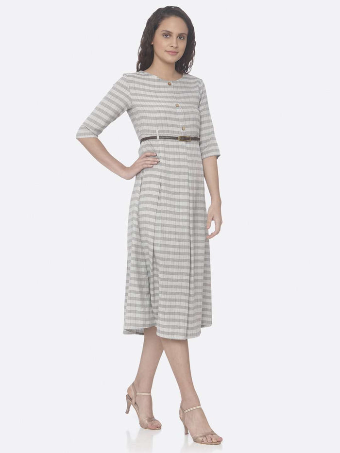 Right Side Grey Printed Cotton A-Line Dress