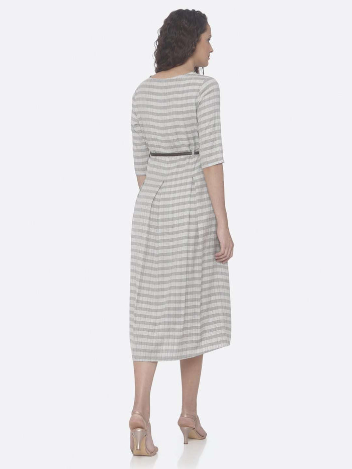 Back Side Grey Printed Cotton A-Line Dress