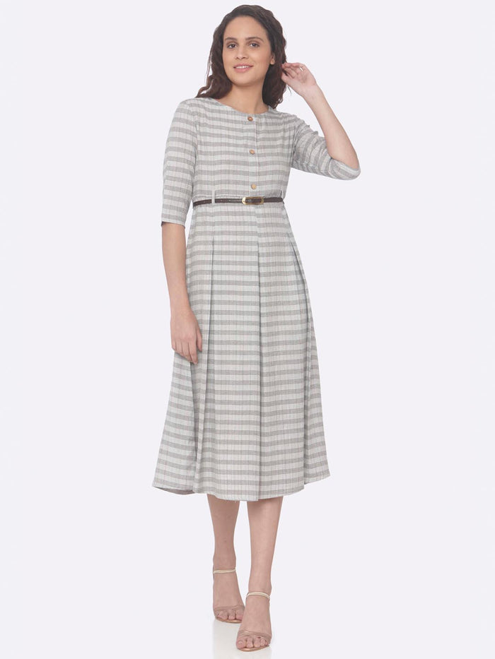 Grey Printed Cotton A-Line Dress