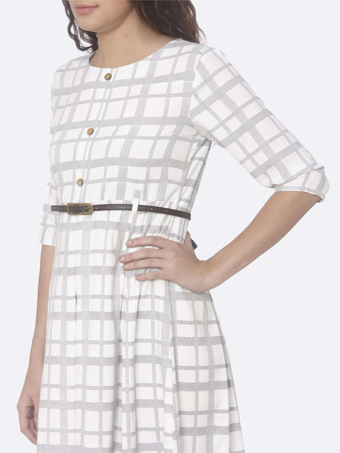 Off White Printed Cotton A-Line Dress