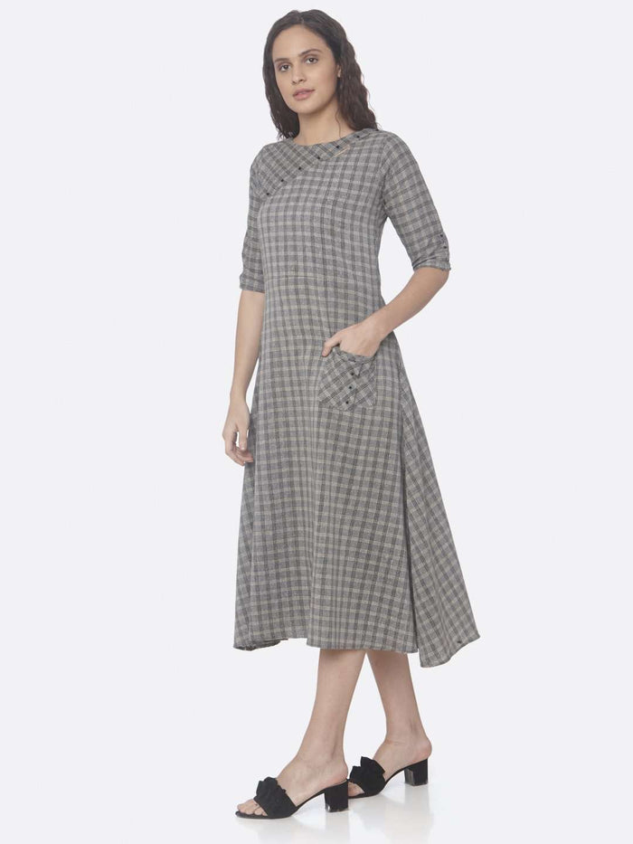 Front Side Grey Printed Cotton A-Line Dress