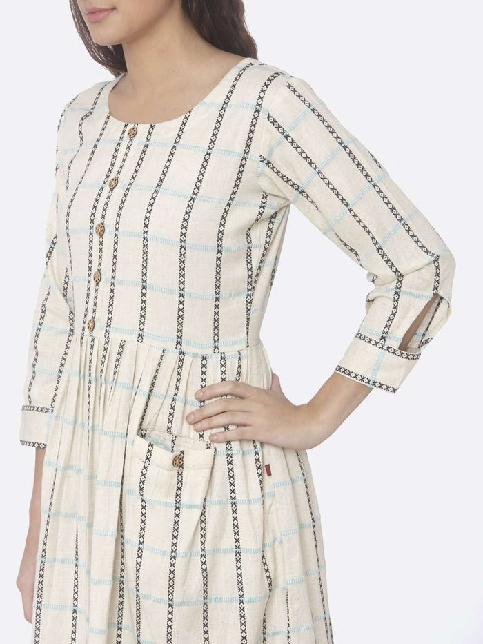 Off White Printed Handloom Cotton A-Line Dress