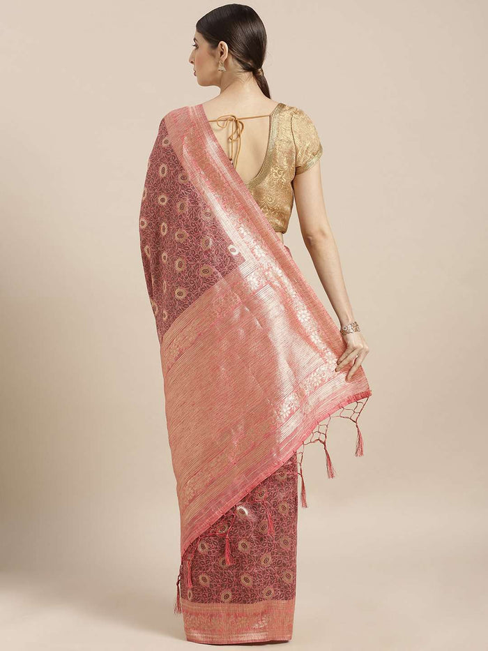 Back Side Pink Woven Silk Saree