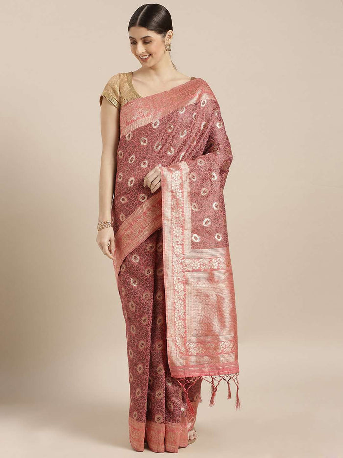 Front Side Pink Woven Silk Saree