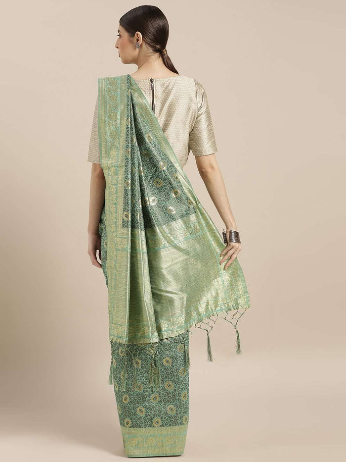 Back Side Sea Green Woven Silk Saree