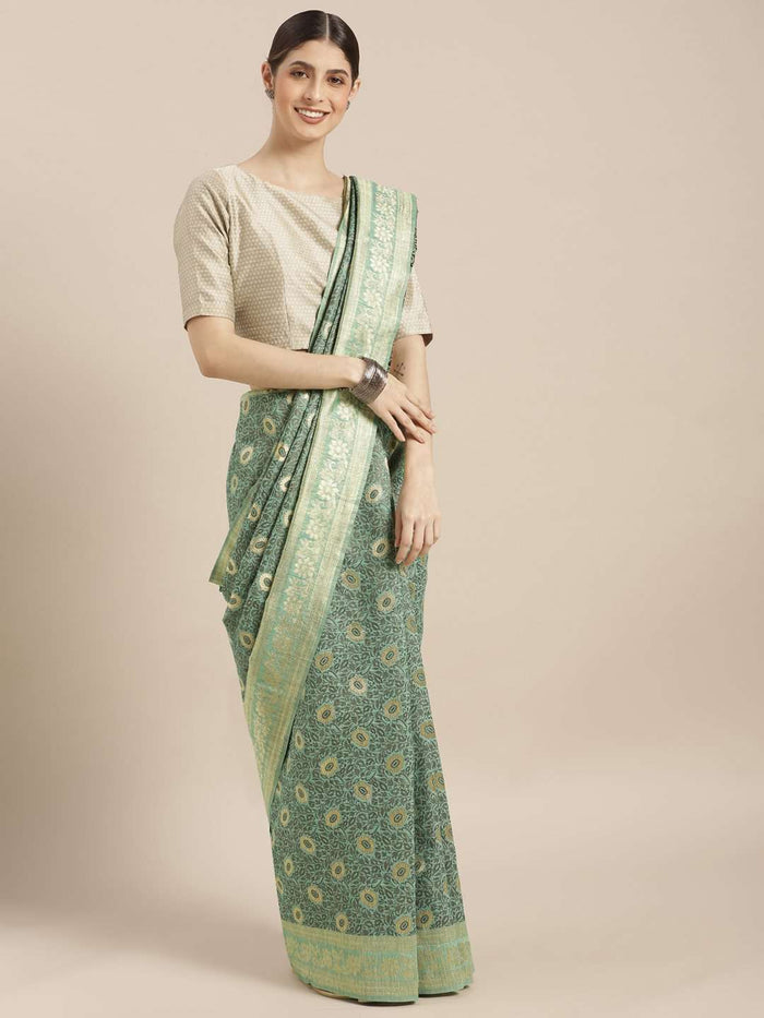 Front Side Sea Green Woven Silk Saree