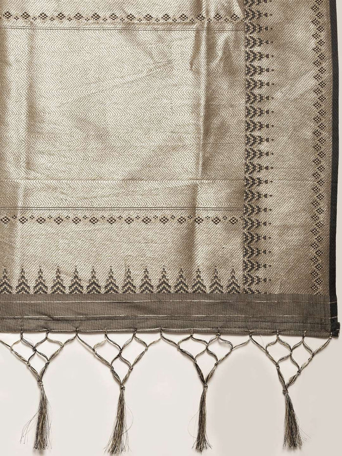 Dark Grey Woven Silk Saree