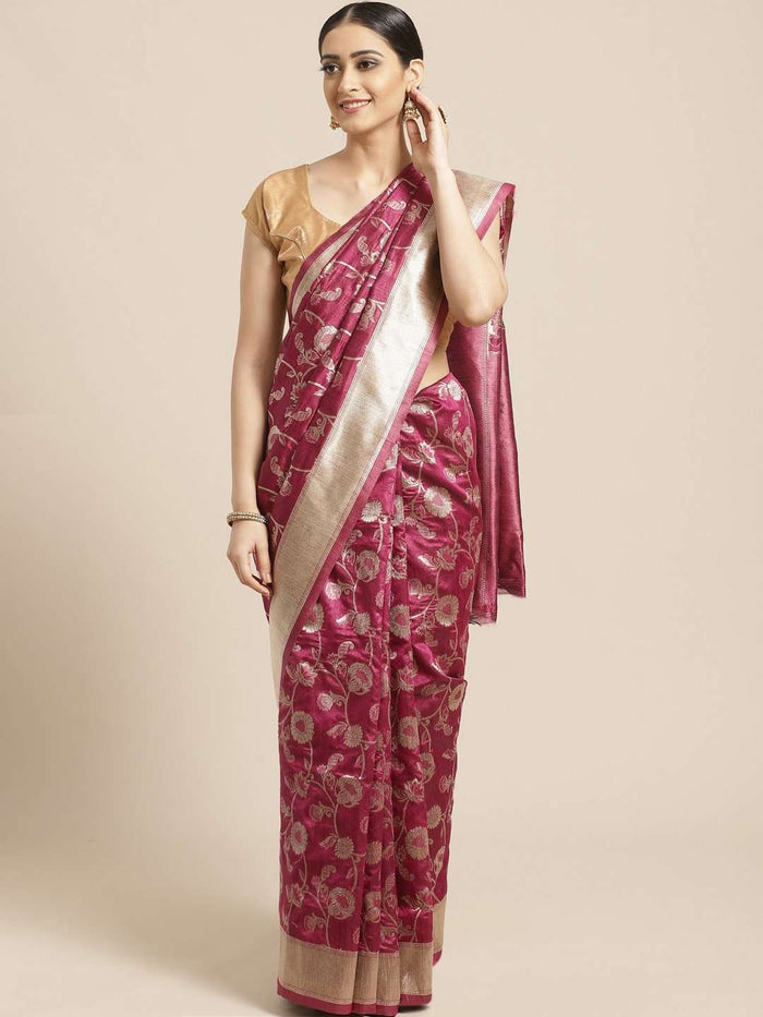 Purple Floral Woven Design Art Silk Banarasi Saree