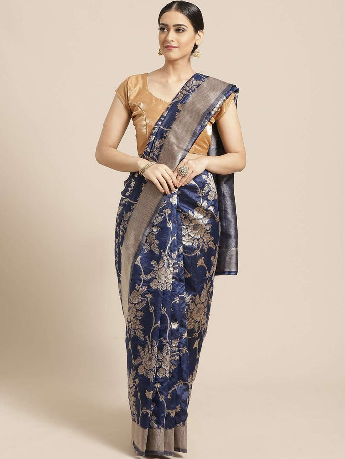 Blue Floral Woven Design Art Silk Banarasi Saree