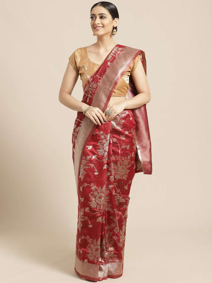 Maroon Floral Woven Design Art Silk Banarasi Saree