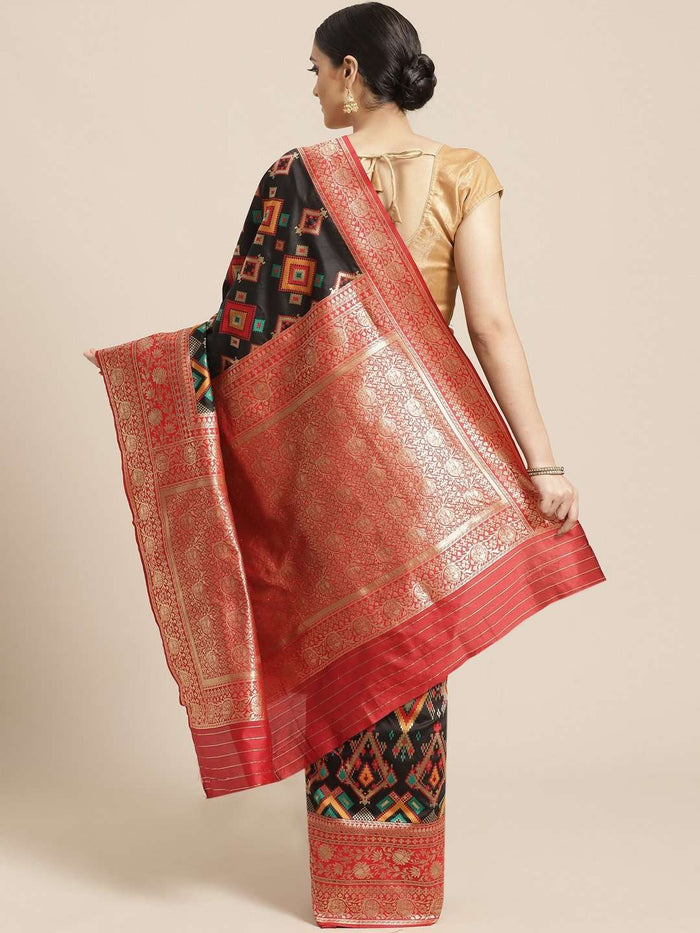 Black Geometric Woven Design Art Silk Banarasi Saree