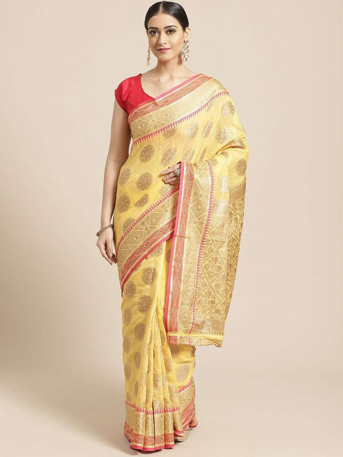 Yellow Ethnic Motifs Woven Design Art Silk Banarasi Saree