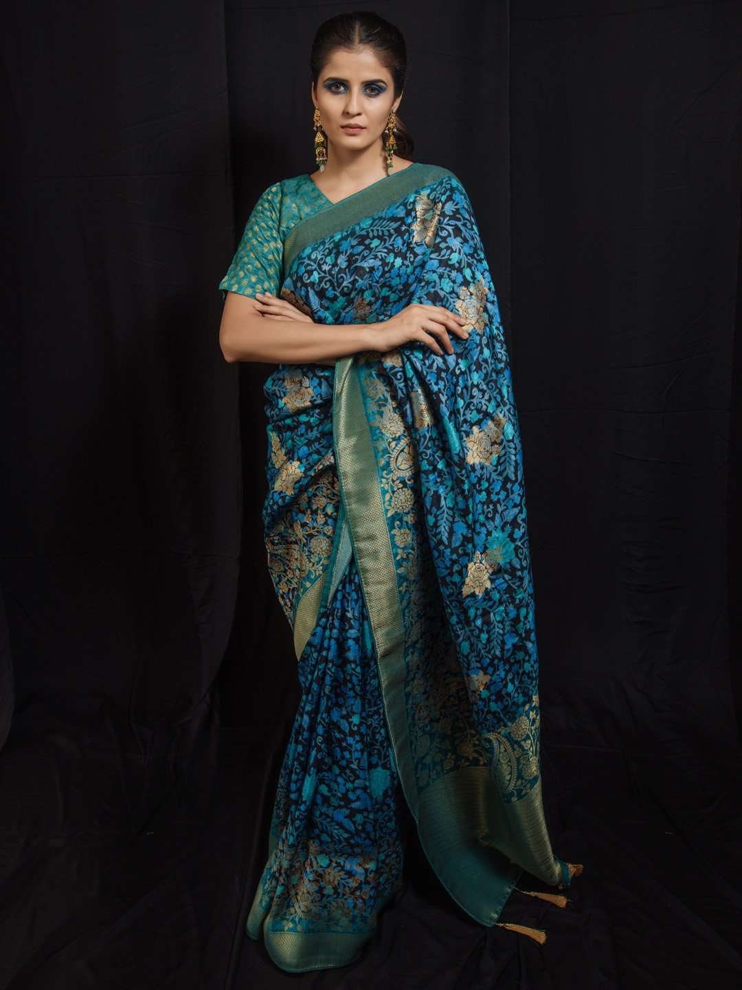 Blue & Teal Woven Silk Traditional Banarasi Saree