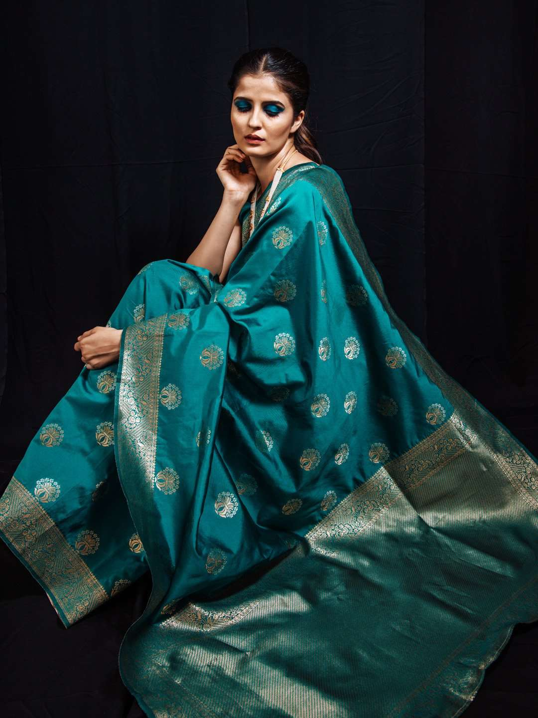 Turquoise Woven Silk Traditional Banarasi Saree