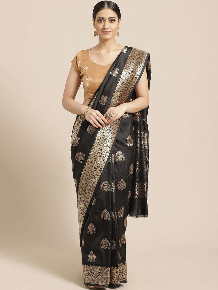 Black Ethnic Motifs Woven Design Art Silk Banarasi Saree