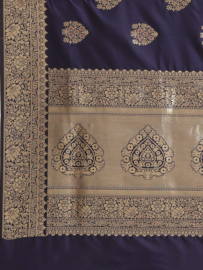 Navy Blue Ethnic Motifs Woven Design Art Silk Banarasi Saree