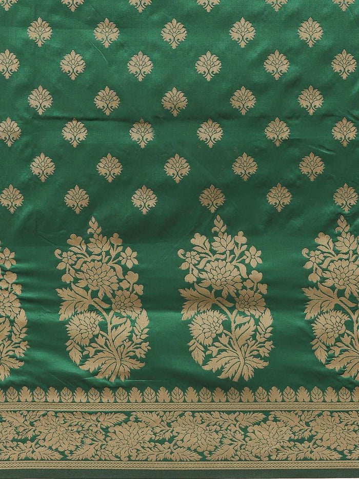 Green Ethnic Motifs Woven Design Art Silk Banarasi Saree