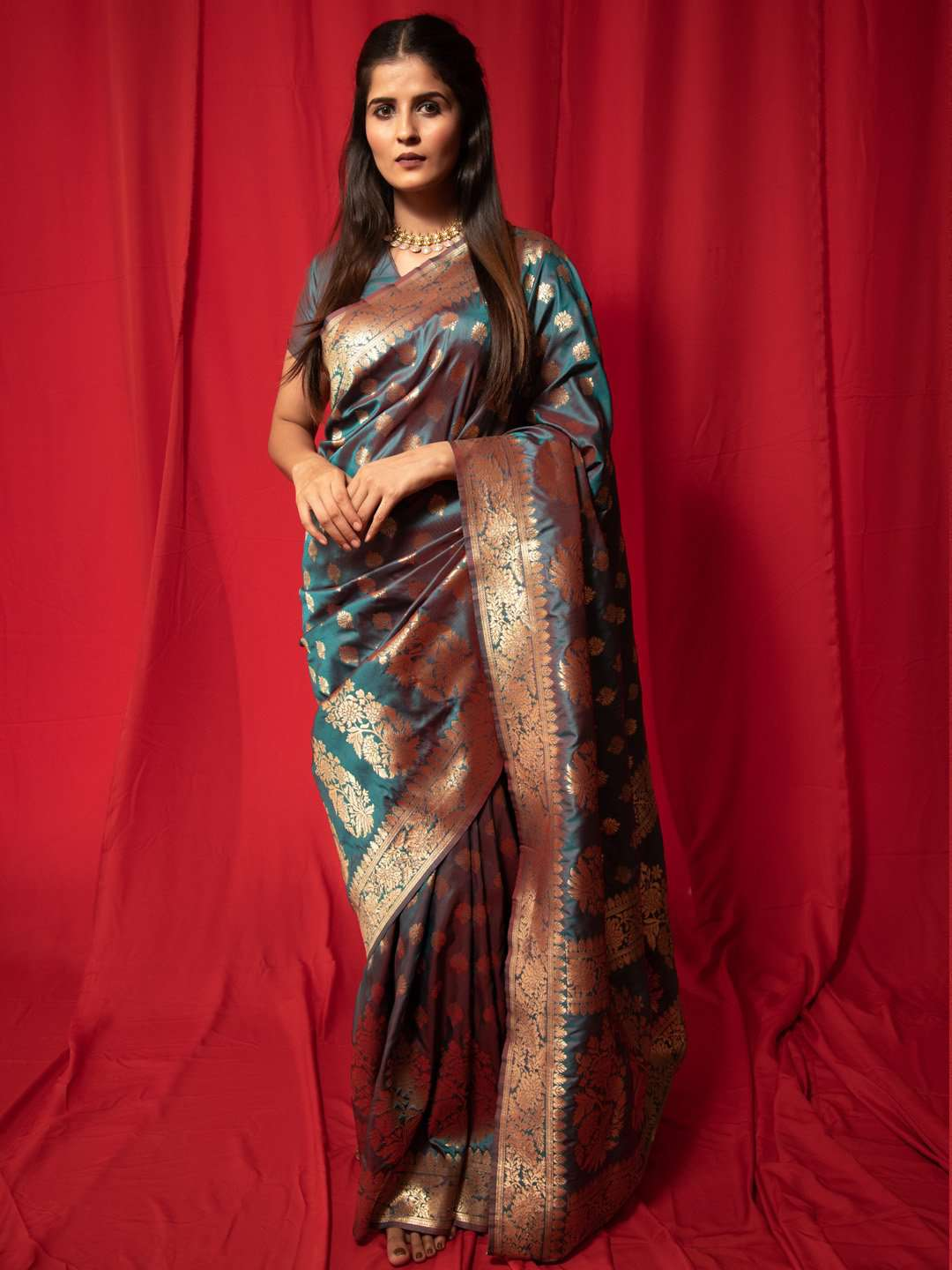 Teal Blue Two Tone Woven Silk Traditional Banarasi Saree