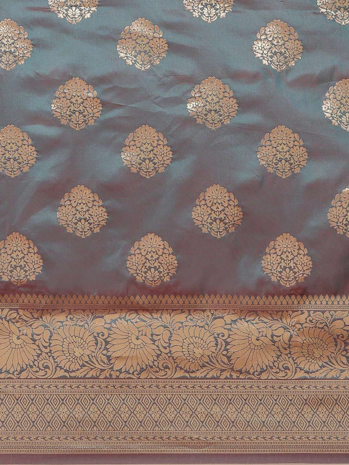 Teal Ethnic Motifs Woven Design Art Silk Banarasi Saree