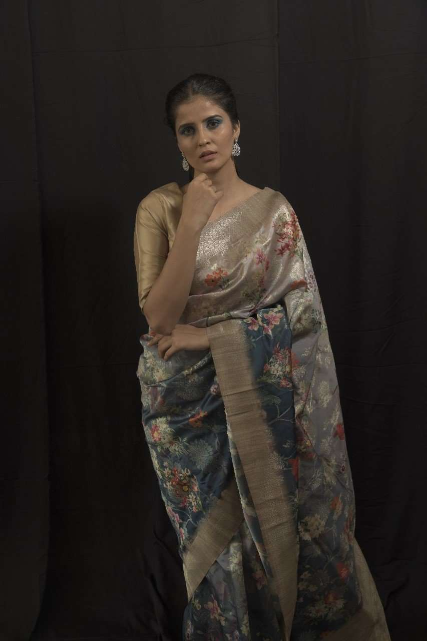 Beige Woven Silk Party Wear Banarasi Saree