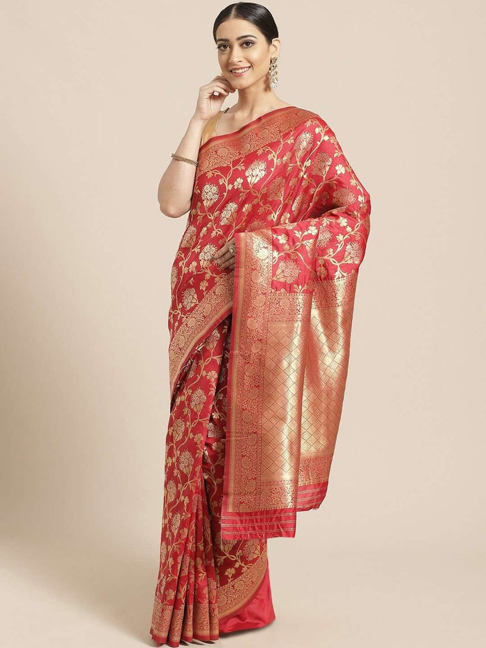 Red Floral Woven Design Art Silk Banarasi Saree