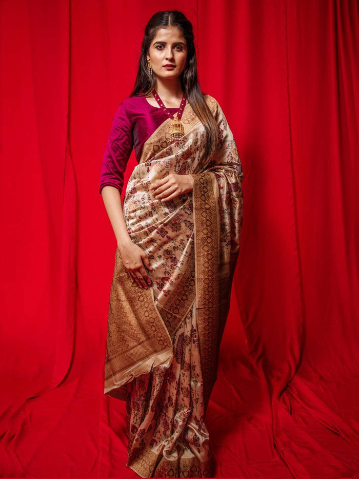 Brown Woven Silk Traditional Banarasi Saree