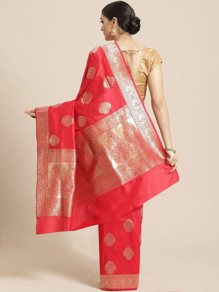 Back Side Red Ethnic Motifs Woven Design Art Silk Banarasi Saree