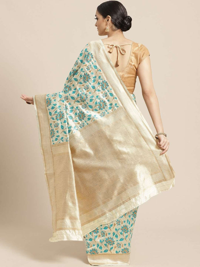 Cream & Green Floral Woven Design Art Silk Banarasi Saree