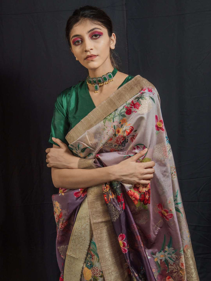 Light Wine Woven Silk Traditional Banarasi Saree