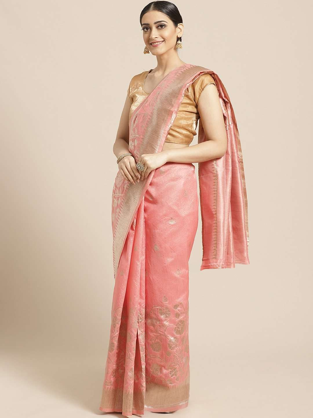 Peach Floral Woven Design Art Silk Banarasi Saree