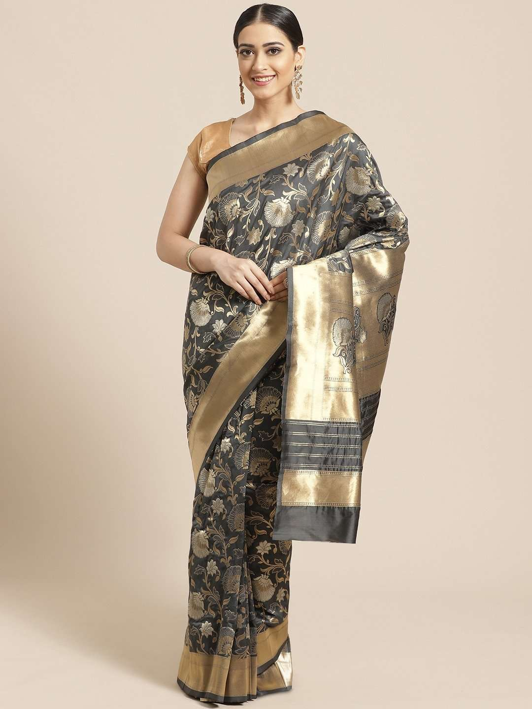 Charcoal Grey Floral Woven Design Art Silk Banarasi Saree