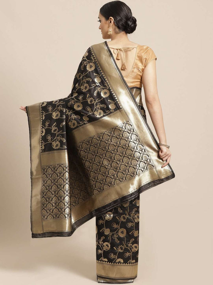 Black Floral Woven Design Art Silk Banarasi Saree