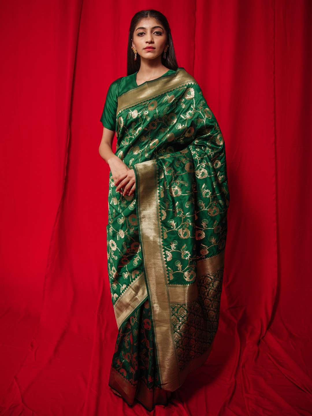 Green Woven Silk Party Wear Banarasi Saree