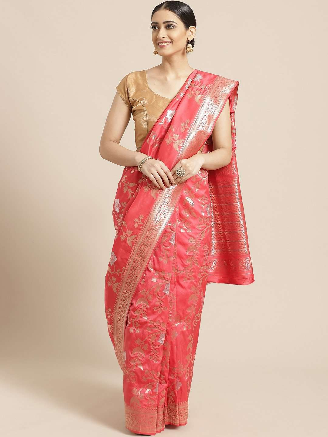Front Side Coral Floral Woven Design Art Silk Banarasi Saree