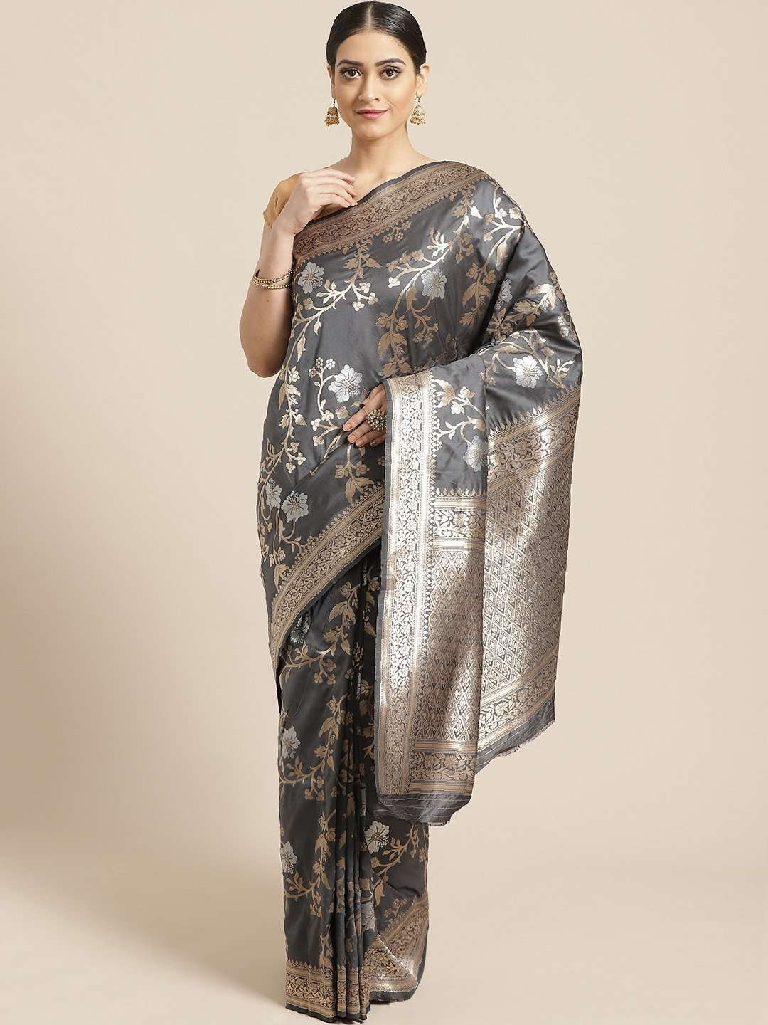 Front Side Grey Floral Woven Design Art Silk Banarasi Saree