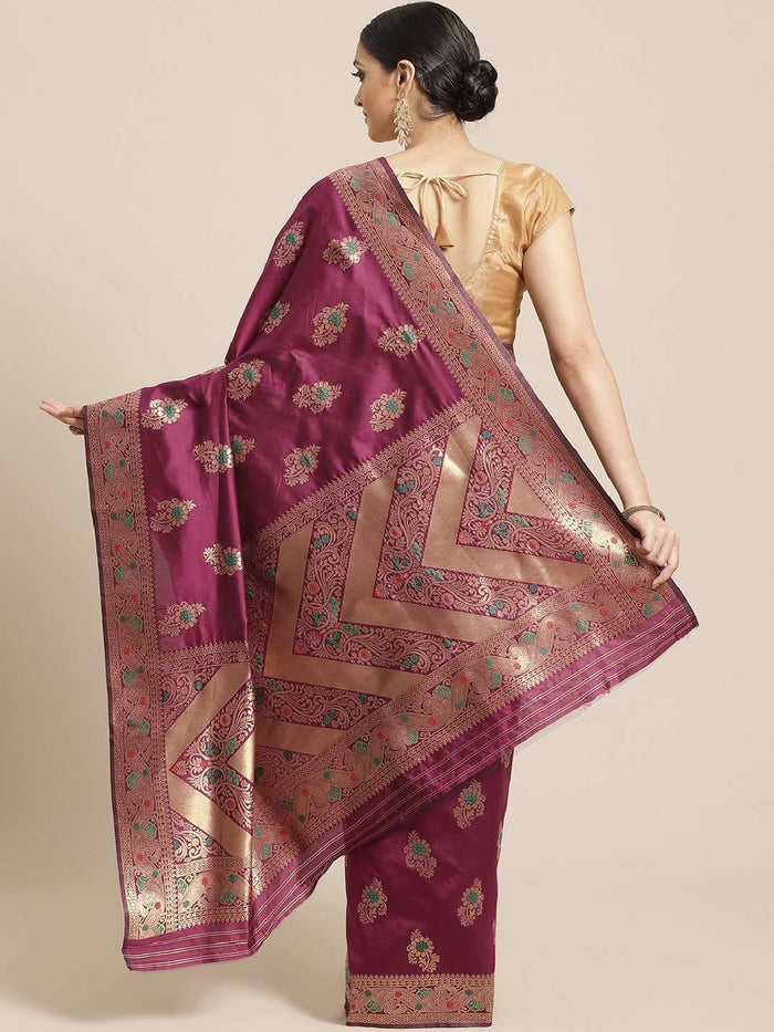 Back Side Wine Floral Woven Design Art Silk Banarasi Saree