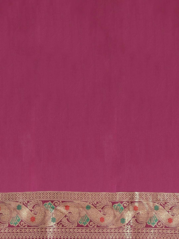 Wine Floral Woven Design Art Silk Banarasi Saree
