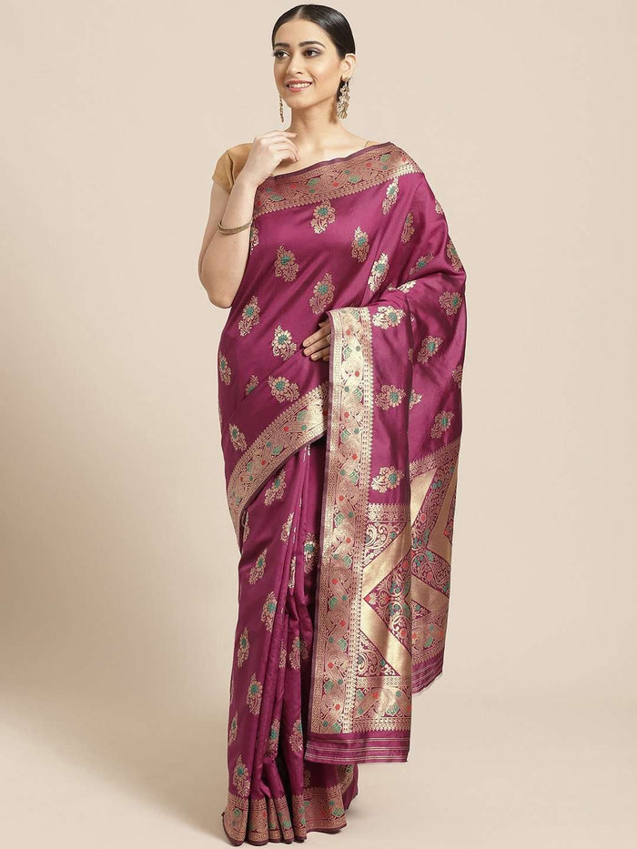 Front Side Wine Floral Woven Design Art Silk Banarasi Saree