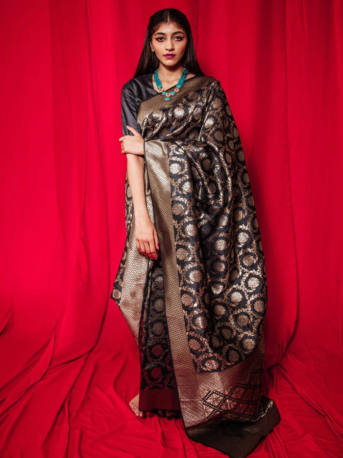 Dark Grey Woven Silk Banarasi Traditional Saree