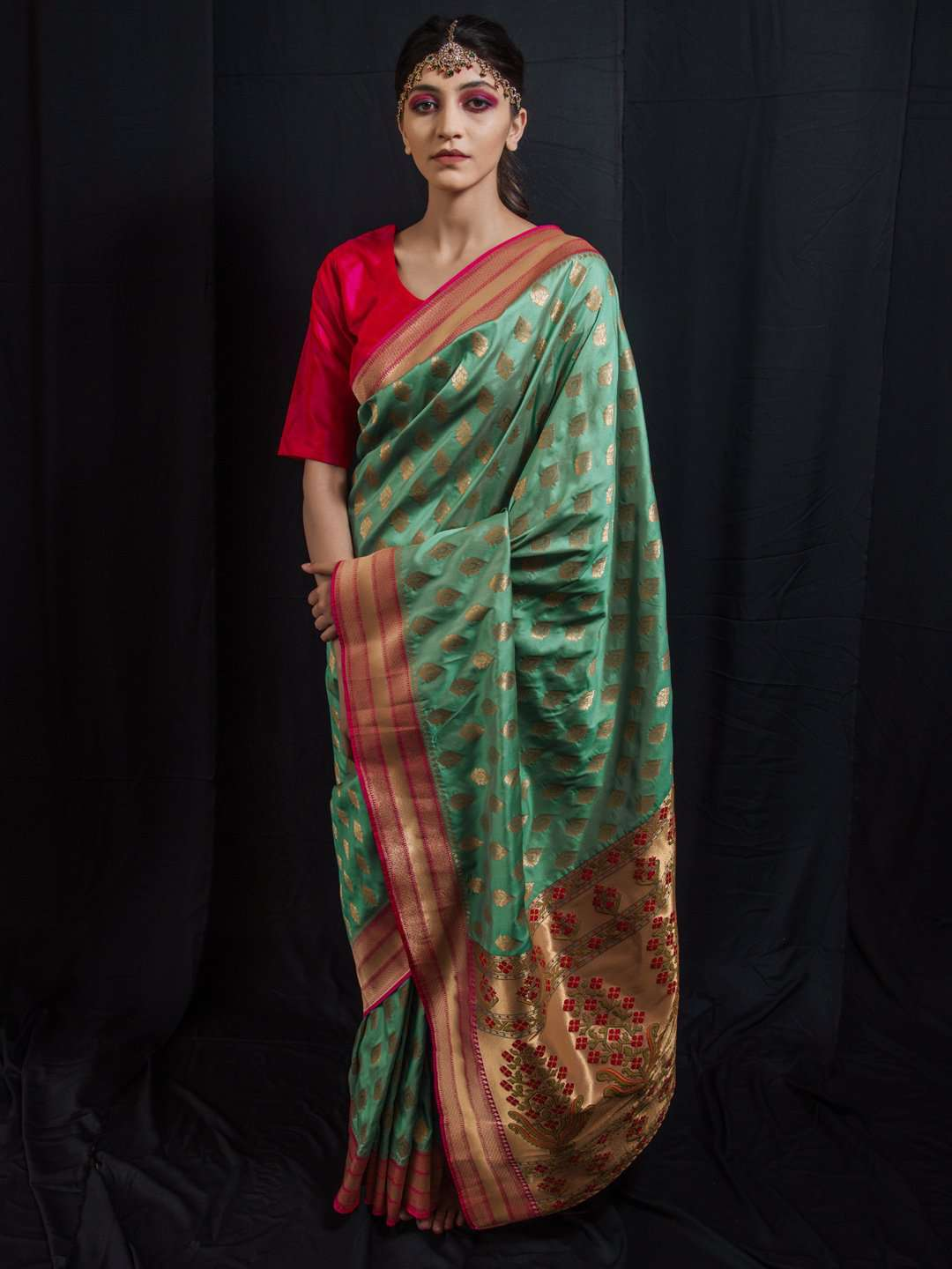Front Side Teal Woven Art Silk Saree